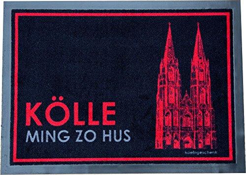 "Fußmatte ""Kölle Ming zo Hus"" 50 x 70 schwarz/rot"