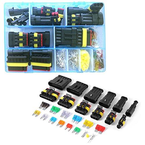Automotive Sicherungen mit Fall 123456-Pin Auto Wasserdicht Stecker Metall Terminal Silikon Dichtring mit Sicherung Kit (Amp Automotive)