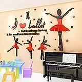 ZRDMN Wandtattoo 3D Ballett Tanzschule Klassenzimmer Hintergrund Wand Gym Raum Yoga Kurse Dekoration, Tanzen das rote Schwarze, König kann für Schlafzimmer Wohnzimmer Büro Familie Badezimmer