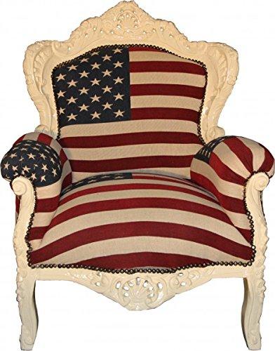 Barock Sessel Amerikanische Flagge USA/Creme - Limited Edition