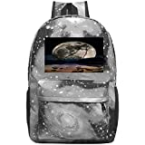 dsgsd Schultasche Full Moon Wolf Silhouette Casual Large-Capacity Star Backpack Unisex Travel Bag...
