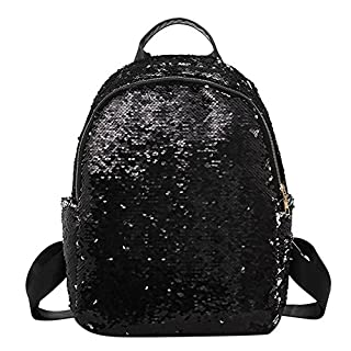 Amazingdeal365 Street Glitter Sequins Backpack (Black)