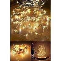 CajuArt 10 Metre Pilli Peri Tel Led Aydınlatma Ev Dekoratif Aydınlatma Yılbaşı Süs Led Işık Pilli Led Lamba (Beyaz)