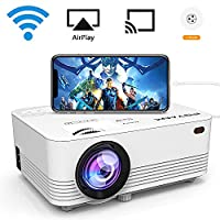 [WIFI Supported] POYANK 2000 Lumen LCD Projector, Wireless and Wired Connection with Smartphone Tablet Laptop, Supports 1080P, HDMI VGA USB TF AV and Headphone Interface, HDMI and AV Cable.