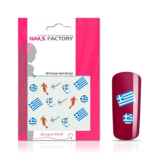 N&BF Nail Art Nagelsticker Fußball   Soccer Nagelaufkleber Greece/Griechenland   Griechische Flaggen Sticker für Kunstnägel und Naturnägel   3D Nageltattoos für WM & EM   Länder Fahnen Transfersticker