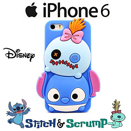Custodia 3D Disney Tsum Tsum Stitch e Scrump Morbida in Silicone Cover per Apple Iphone 6 - 6S