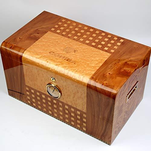 MOSMAT Eleganter Kapazitäts-Zedernholz-Zigarren-Humidor mit Hygrometer-Befeuchter-Zigarrenschachtel mit Verschluss-Humidor passte 200-300 Zigarren