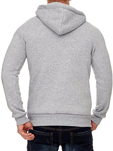 TAZZIO Herren Styler Sweatshirt mit Kapuze Pullover Hoodie 16214 Grau
