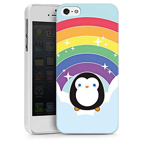 Apple iPhone X Silikon Hülle Case Schutzhülle Regenbogen Pinguin Wolken Hard Case weiß
