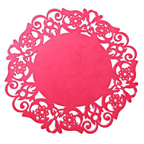 Fjiujin,Mehrzweck-Silikonhohl-rutschfeste hitzebeständige Matte(color:ROSE MADDER)