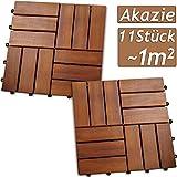 Deuba 11x Holzfliesen Akazie Mosaik | FSC®-zertifiziertes Akazienholz | 1m² Fliese 30x30 cm Stecksystem | Zuschneidbar Terrasse Balkon
