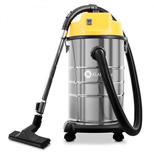 Klarstein IVC-30 Aspiradora industrial • Aspiración seca y húmeda • Sin bolsa • Depósito 30L • Doble motor • Potencia 1800W • Función soplado • Largo alcance • Accesorios • Acero inoxidable • Amarillo