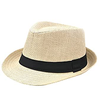 Gespout British Style Fedora Hat Panama Summer Outdoor Beach Straw Cap - Beige