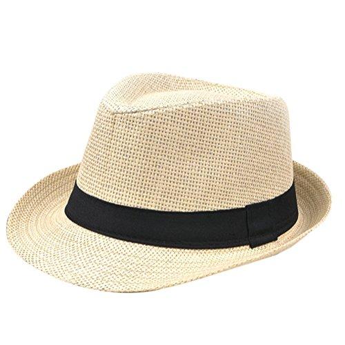 Hosaire Mütze Hut Mode Britischen Stil Gras Sommerhut Eave Strohhut Jazz Cap Outdoor Strandkappe für Männliche Herren,Beige