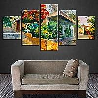 Lienzo casa decoracion HD poster Wall Art Modern 5 Panel modular de hojas verdes Lotus Salon imprimir pintar cuadros