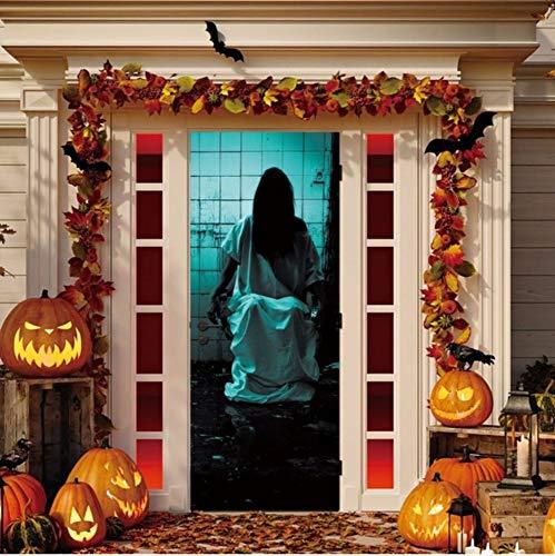 shee Türaufkleber Für Halloween Dekorationen Schlafzimmer Holztür Erneuern Abziehbilder Selbstklebende Tapete 70X204 Cm ()