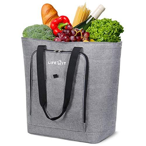 Lifewit Kühltasche Gross Einkaufstasche Thermotasch Isoliert Kühl Rucksack faltbar groß Cooler Bag für Einkaufen, Ausflüge, Wanderungen, Picknick und Lange Autofahren, 42L, Grau