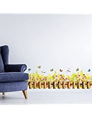 Solimo Wall Sticker for Home (Wild flower fence,  ideal size on wall ,  130 cm X 40 cm)