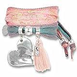 Anisch de la Cara Damen Wickel-Armband Magic Love Rosé Seide indischer Sari Swarovski Kristall, ia-rose-m-love