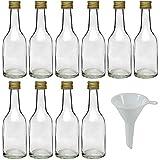 mikken 10 x Glasflasche 100 ml mit Schraubverschluss inkl. Trichter