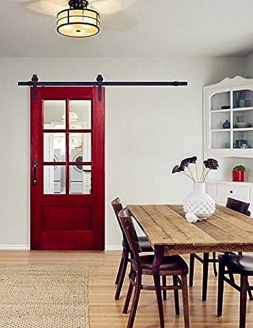 hahaemall 12ft/3.66m simple porte coulissante en bois Grange rustique rustique Cabinet Armoire Hardware Rail Kit (Singolo Barndoor)