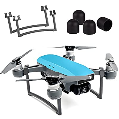 Kuuqa Landing Gear Leg Height Extender Set with 4 Pcs Silica Gel Motor Guard Protective Cover Accessories for DJI Spark (Dji Spark Not Included)