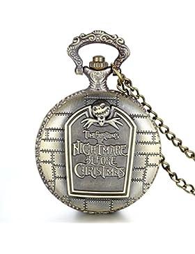 JewelryWe Damen Herren Taschenuhr, Vintage Bronze Farbe Uhranhänger Quarzuhr Kettenuhr Uhr lange Pullover Halskette...