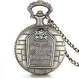 Tim Burton JewelryWe bronce Retro de pesadilla antes de Navidad grabado con camafeo de cuarzo reloj de bolsillo collar con colgante en forma de techo 78,74 cm (incluye bolsa de regalo) cadena