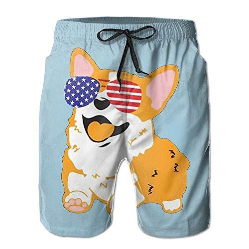 Pillow Socks LQQWY Quick Dry Men's Corgi American Flag Patriotic Sunglasses Beach Shorts Swim Trunks Board Shorts XX-Large