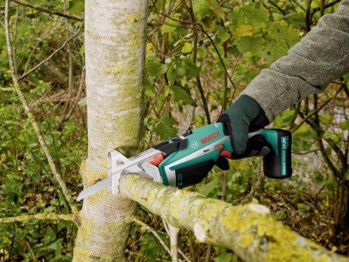 """Bosch DIY Akku-Gartensäge Keo, Haltebügel """"A-Grip"""", Messer für Frischholz, 3h-Lader (10,8 V, max. Ø 80 mm Schneidekapazität) - 4"""