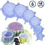 Coperchi elastici in silicone Coperchio flessibile riutilizzabile per alimenti da 6 confezioni Coperchi per contenitori di varie dimensioni estensibili durevoli Coperchi per vaso contenitore (Blu)