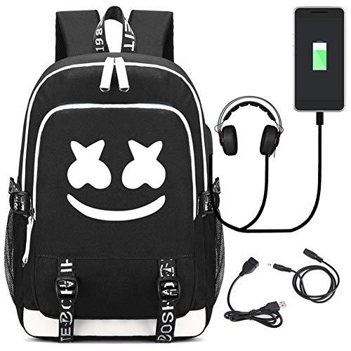 Hzl marshmello DJ Laptop Rucksack mit USB Ladeanschluss, Unisex Business Reise Schule Notebook Rucksack für Herren Damen,Black