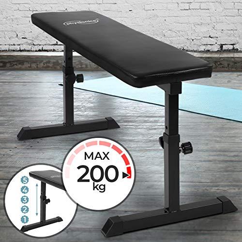 Physionics Banco Plano de Musculación - Altura Ajustable 3 Posiciones, Carga máx. 200 kg - Banco...