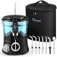 Ovonni -- Irrigador dental profesional, 7 Boquillas intercambiables, 10 Ajustes de presión, 600 ML de gran Tanque de agua, Recomendado por dentistas y médicos de higiene bucal, cuidado familiar, Negro
