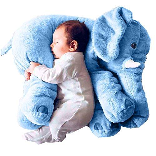 KiKa Monkey Baby-weiches Plüsch-Elefant Schlafkissen Kids Lendenkissen Spielzeug Large Size (Groß, Blau)