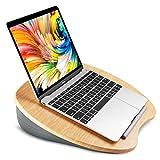 HUANUO Laptopständer mit Kissen und Bambus-Plattform, als Buchständer/Schlafkissen/Knieschreibtisch, mit Kabelloch                                           und Anti-Rutsch Streifen, Passend für bis zu 14 Zoll Laptop,Tablet