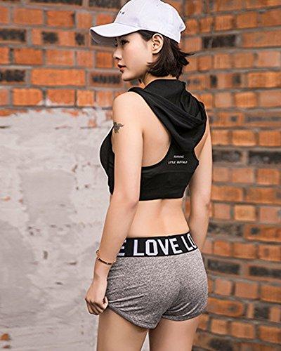 Minetom Femme Été Mode Sexy Short Casual Plage Pantalon Court Loisirs Short de Sport Yoga Lettre Impression Plage Pantalons Chauds Gris