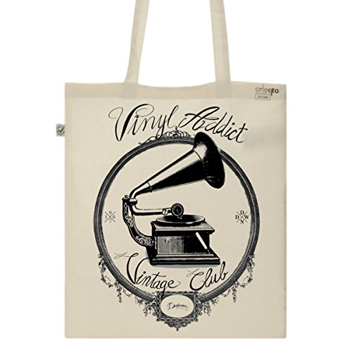 Tote Bag Imprimé Ecru - Toile en coton bio - Disques vinyl addict vintage