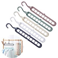JOJOR Magic Clothes Hanger Organizer, 5 Pack Closet Space Saving Hanger, Multi Functional Wardrobe Hanger, Rotate Anti-skid Storage Coat Hangers,Sturdy Plastic