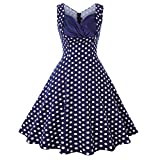 Clacce Frauen Vintage Style Retro Rockabilly V-Ausschnitt Dot Abend Party Swing Kleid(Blue,S)