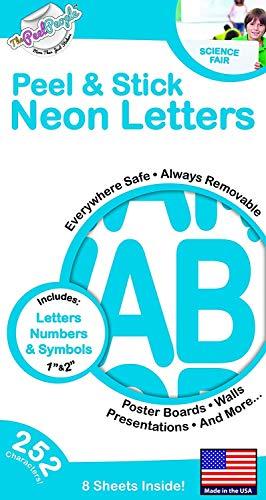 The Peel People Abzieh- und Aufklebe-Buchstaben und Zahlen, 2,5 cm und 5,1 cm, Neonblau, 252 Stück -