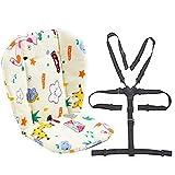 Kinderwagen/Hochstuhl Sitzkissen Liner Mat Pad Cover Resistant und Hochstuhlgurte (5-Punkt-Auffanggurt) 1 Anzug (Giraffe)