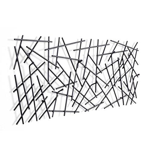 Haku Wandgarderobe Sticks 42862 mit 6 Garderobenhaken Schwarz 100cm Breit - Wall Coat Rack