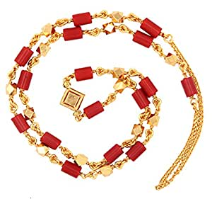 The Jewelbox Traditional 22K Gold Plated Coral Mala Chain 31.5