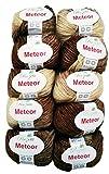 10 x 50g Meteor Wolle zum Stricken und Häkeln mit Glitzer, 500 Gramm Metallic-Wolle Farbe 400-13, braun beige