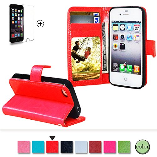 Custodia Per iphone 4 / 4s Portafoglio in Pelle [Con Pellicola Protettiva], Funyye Stile Libro Disegno Tinta Unita Elegante Foglio Copertura Supporto Stand / Porta Carte / Chiusura Magnetica Cover Apple iphone 4/4s Protettiva Flip Wallet Case Premium Elegant Intelligent PU Leather Shell Slim Thin Skin Bumper With Free Screen Protector - Rossa