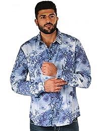 drykorn Ruben Camisa Camisa de manga larga hombre azul color blanco estampado