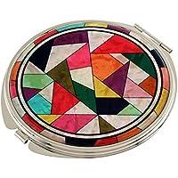 Madreperla con Design compatto trapunta doppia lente d'ingrandimento tascabile trucco Bellezza-Specchio da borsetta