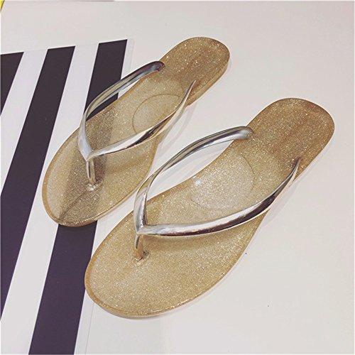 FLYRCX Semplice personalità creative ladies piedi piatti oro e argento pantofole trasparente d