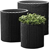 Keter Indoor/Outdoor Rattan Style Garden Planters, 3 Size Set Round Pots - Anthracite